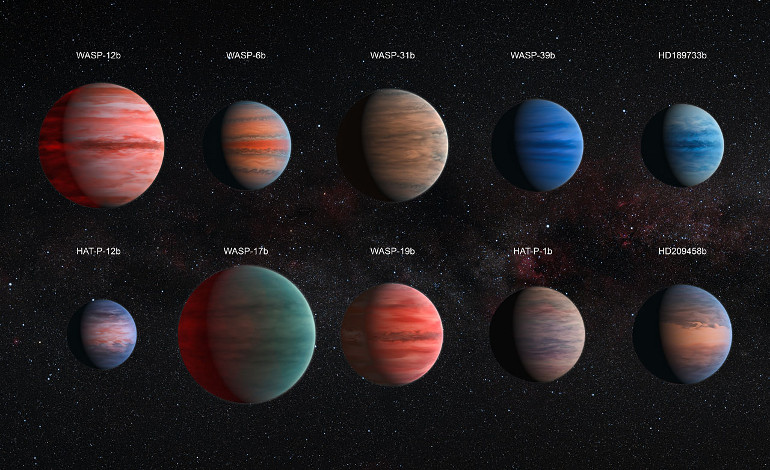This image shows an artist's impression of the ten hot Jupiter exoplanets studied by David Sing and his colleagues. The images are to scale with each other. HAT-P-12b, the smallest of them, is approximately the size of Jupiter, while WASP-17b, the largest planet in the sample, is almost twice the size. The planets are also depicted with a variety of different cloud properties. There is almost no information about the colours of the planets available, with the exception of HD 189733b, which became known as the blue planet (heic1312). The hottest planets within the sample are portrayed with a glowing night side. This effect is strongest on WASP-12b, the hottest exoplanet in the sample, but also visible on WASP-19b and WASP-17b. It is also known that several of the planets exhibit strong Rayleigh scattering. This effect causes the blue hue of the daytime sky and the reddening of the Sun at sunset on Earth. It is also visible as a blue edge on the planets WASP-6b, HD 189733b, HAT-P-12b, and HD 209458b. The wind patterns shown on these ten planets, which resemble the visible structures on Jupiter, are based on theoretical models