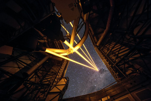 On 26 April 2016 an event at ESO's Paranal Observatory in Chile marked the brilliant first light for the four powerful lasers that form a crucial part of the adaptive optics systems on ESO's Very Large Telescope. Attendees were treated to a spectacular display of cutting-edge laser technology against the majestic skies of Paranal. These are the most powerful laser guide stars ever used for astronomy and mark the first use of multiple laser guide stars at ESO. This spectacular image shows the four beams emerging from the new laser system on Unit Telescope 4 of the VLT.