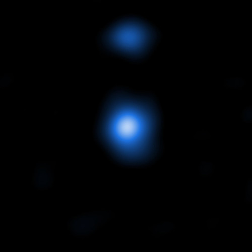 This image shows one of two detected supermassive black hole seeds, OBJ29323, as it is seen by the NASA Chandra Space Telescope. The properties of the X-ray data match those predicted by models produced by the Italian research team.