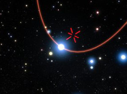 This artist's impression shows stars orbiting the supermassive black hole at the centre of the Milky Way. In 2018 one of these stars, S2, will pass very close to the black hole and this event will be the best opportunity to study the effects of very strong gravity and test the predictions of Einstein's general relativity in the near future. The GRAVITY instrument on the ESO Very Large Telescope Interferometer is the most powerful tool for measuring the positions of these stars in existence and it was successfully tested on the S2 star in the summer of 2016.The orbit of S2 is shown in red and the position of the central black hole is marked with a red cross.