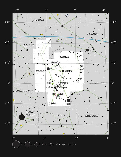 This chart shows the location of the Orion Nebula (Messier 42) in the sword of the famous constellation of Orion (the Hunter). This map shows most of the stars visible to the unaided eye under good conditions and the Orion Nebula itself is highlighted with a red circle on the image. This grand star formation region can be seen with the unaided eye and is an impressive sight in moderate-sized amateur telescopes.