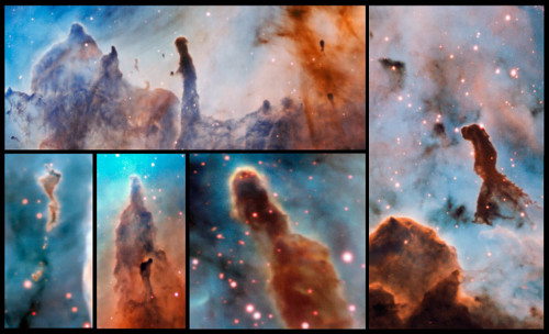 These composite image shows several pillars within the Carina Nebula which were observed and studied with the MUSE instrument, mounted on ESO's Very Large Telescope. The massive stars within the star formation region slowly destroy the pillars of dust and gas from which they are born.