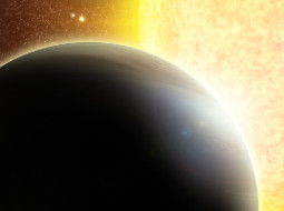 Artist's impression of a transiting Jupiter-mass exoplanet around a star slightly more massive than the Sun, such as the one discovered around SWEEPS-04.