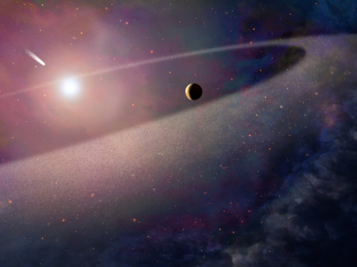 This artist's impression shows a massive, comet-like object falling towards a white dwarf. New observations with the NASA/ESA Hubble Space Telescope show evidence for a belt of comet-like bodies orbiting the white dwarf, similar to the Kuiper Belt in our own Solar System. The findings also suggest the presence of one or more unseen surviving planets around the white dwarf which may have perturbed the belt sufficiently to hurl icy objects into the burned-out star.