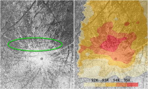 Zona de la que emergen las plumas desde la superficie de Europa